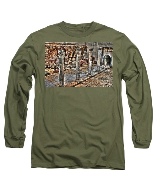 Long Sleeve T-Shirt featuring the photograph Ancient Roman Columns In Israel by Doc Braham