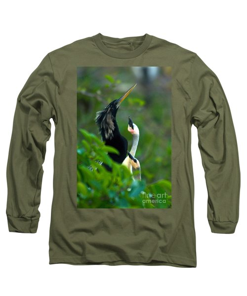 Anhinga Adult With Chicks Long Sleeve T-Shirt by Mark Newman