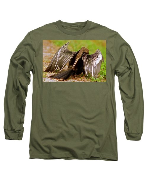Anhinga Anhinga Anhinga Preening Long Sleeve T-Shirt by Millard H. Sharp