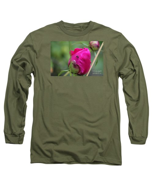 Long Sleeve T-Shirt featuring the photograph Ant On Peony by Ann E Robson