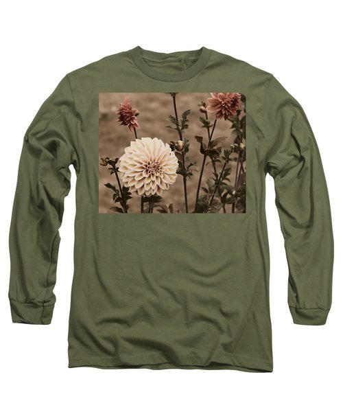 Long Sleeve T-Shirt featuring the photograph Antiqued Dahlias by Jeanette C Landstrom