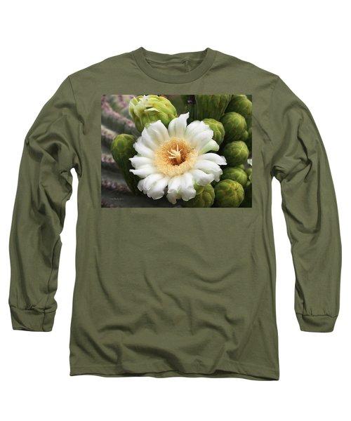 Arizona State Flower The Saguaro Blossom Long Sleeve T-Shirt