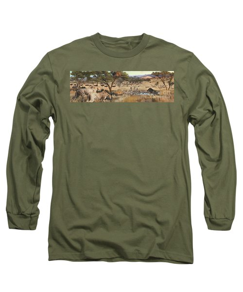 Long Sleeve T-Shirt featuring the painting Arrival by Rob Corsetti