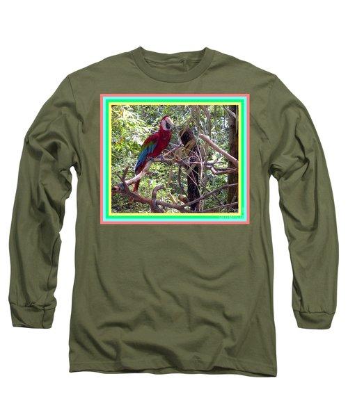 Long Sleeve T-Shirt featuring the photograph Artistic Wild Hawaiian Parrot by Joseph Baril
