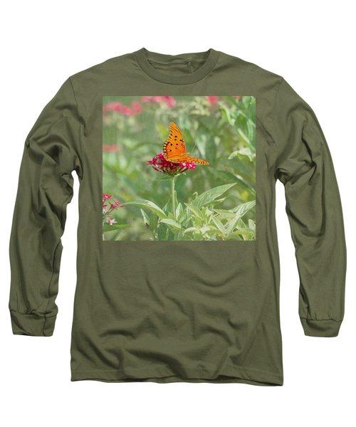 At Rest - Gulf Fritillary Butterfly Long Sleeve T-Shirt