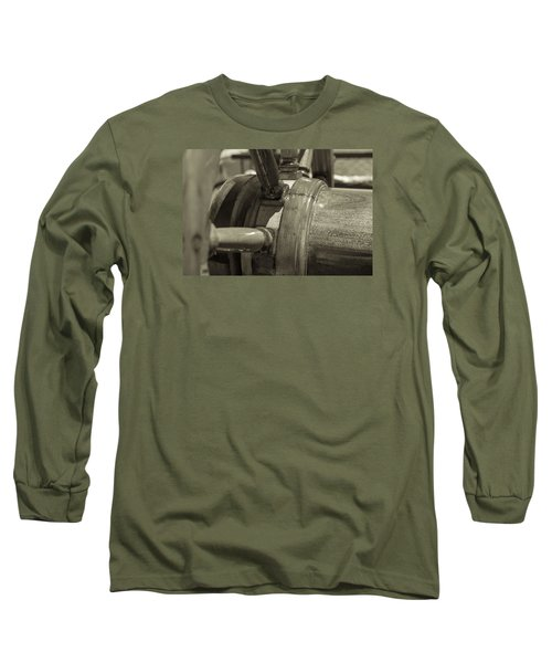 At The Helm Black And White Sepia Long Sleeve T-Shirt
