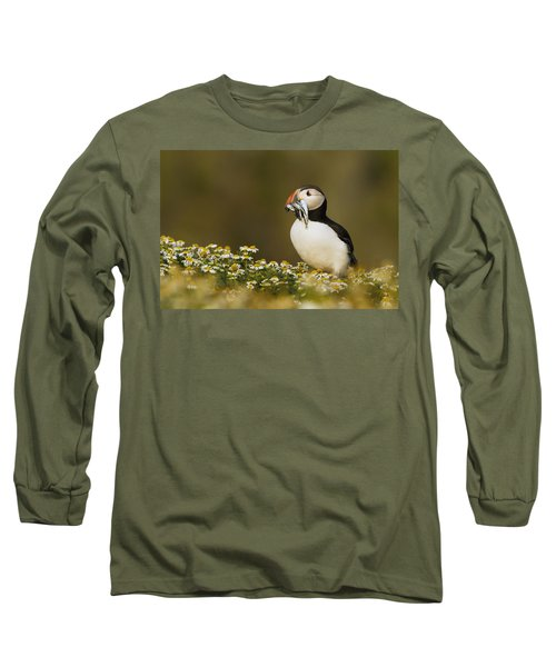 Atlantic Puffin Carrying Fish Skomer Long Sleeve T-Shirt by Sebastian Kennerknecht