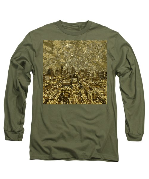Austin Texas Vintage Panorama Long Sleeve T-Shirt by Bekim Art