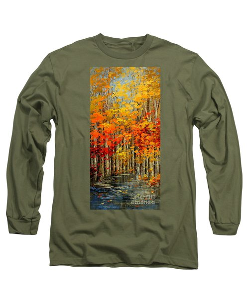 Long Sleeve T-Shirt featuring the painting Autumn Banners by Tatiana Iliina