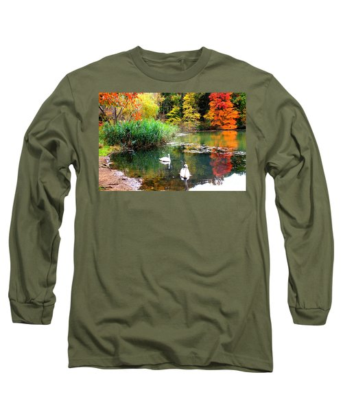 Autumn By The Swan Lake Long Sleeve T-Shirt by Dora Sofia Caputo Photographic Art and Design