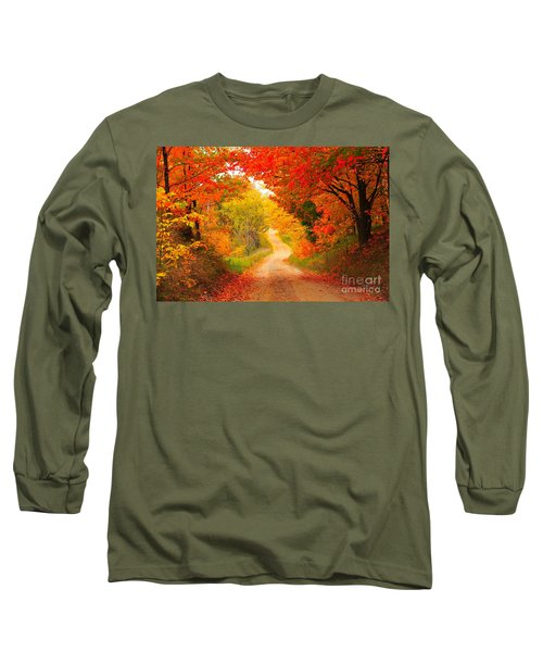 Long Sleeve T-Shirt featuring the photograph Autumn Cameo Road by Terri Gostola