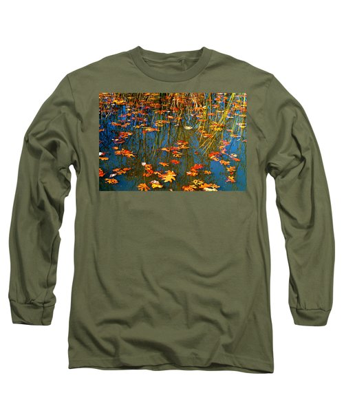 Long Sleeve T-Shirt featuring the photograph Autumn  Floating by Peggy Franz