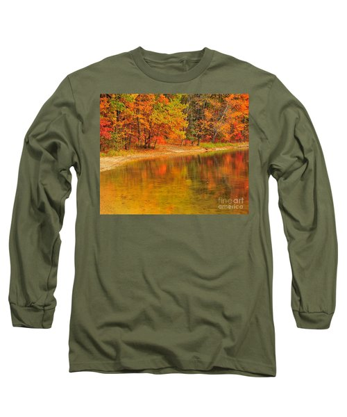 Autumn Forest Reflection Long Sleeve T-Shirt by Terri Gostola
