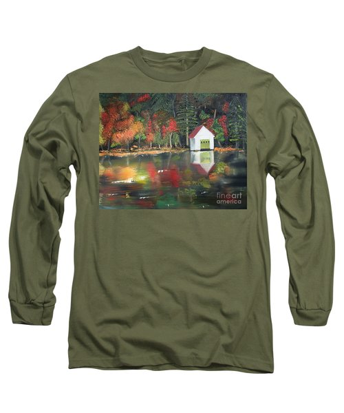 Long Sleeve T-Shirt featuring the painting Autumn - Lake - Reflecton by Jan Dappen
