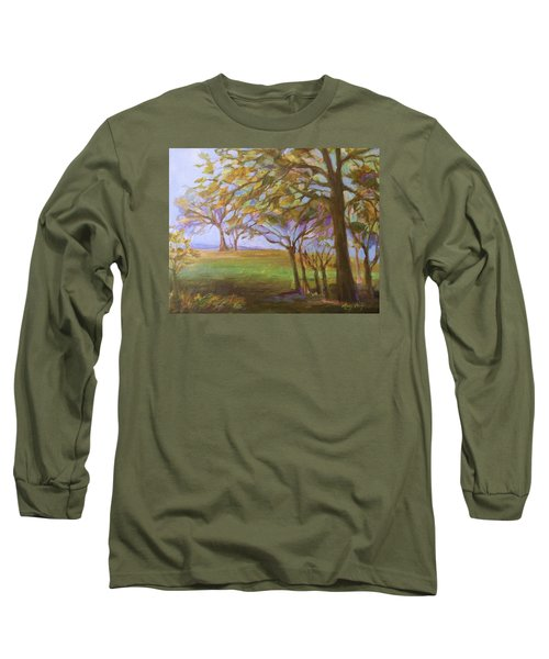 Long Sleeve T-Shirt featuring the painting Autumn Leaves by Mary Wolf
