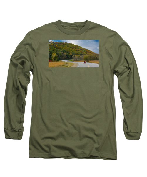 Autumn Motorcycle Rider / Orange Long Sleeve T-Shirt by Patti Deters