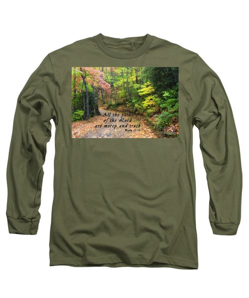 Autumn Path With Scripture Long Sleeve T-Shirt