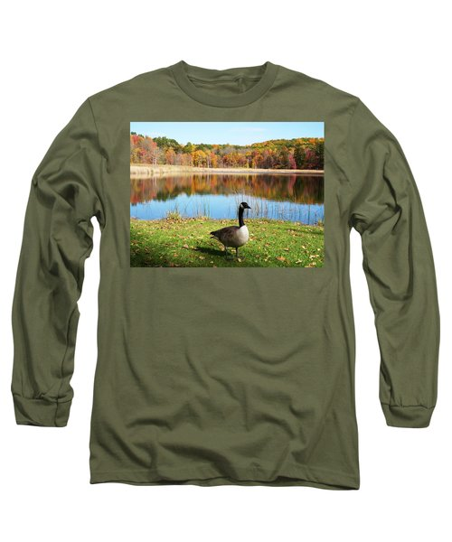Long Sleeve T-Shirt featuring the photograph Autumn Pond Goose by Aimee L Maher Photography and Art Visit ALMGallerydotcom