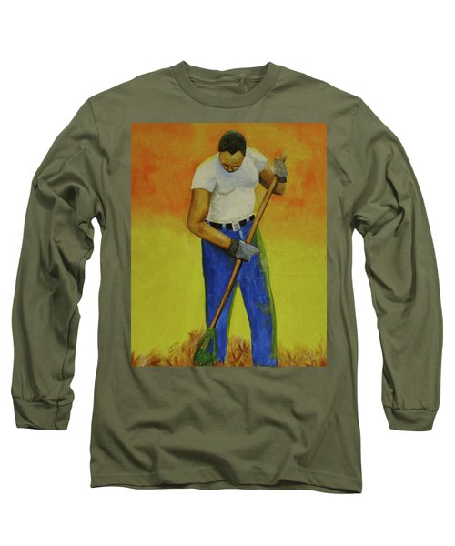 Autumn Raking Long Sleeve T-Shirt by Thomas J Herring