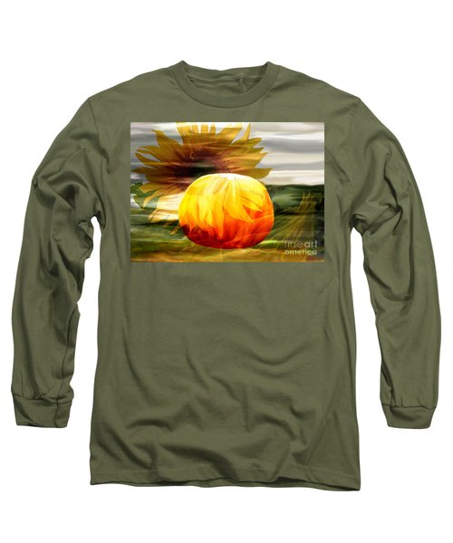 Long Sleeve T-Shirt featuring the photograph Autumn Sunflower And Pumpkin by Annie Zeno