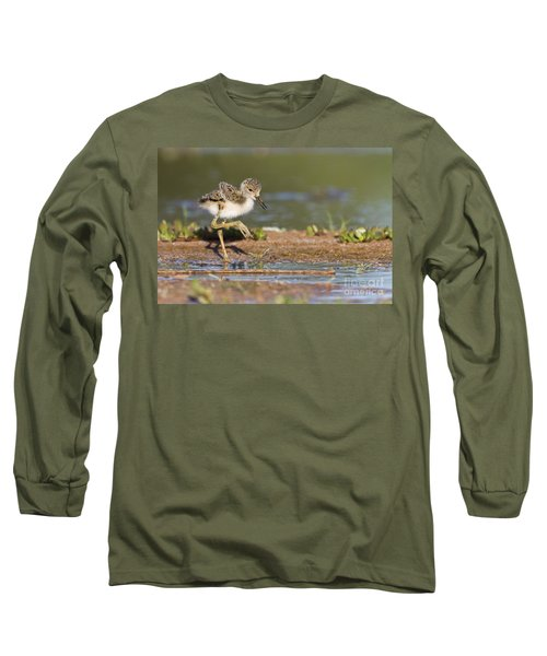 Baby Black-necked Stilt Exploring Long Sleeve T-Shirt