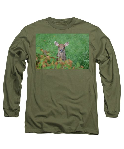 Long Sleeve T-Shirt featuring the photograph Baby Fawn In Yard by Kym Backland