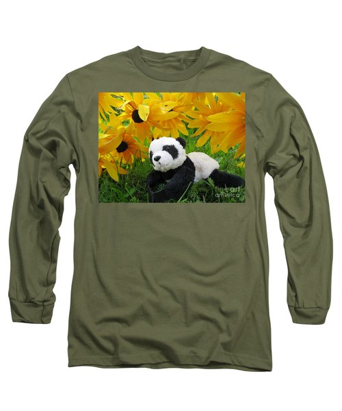 Baby Panda Under The Golden Sky Long Sleeve T-Shirt