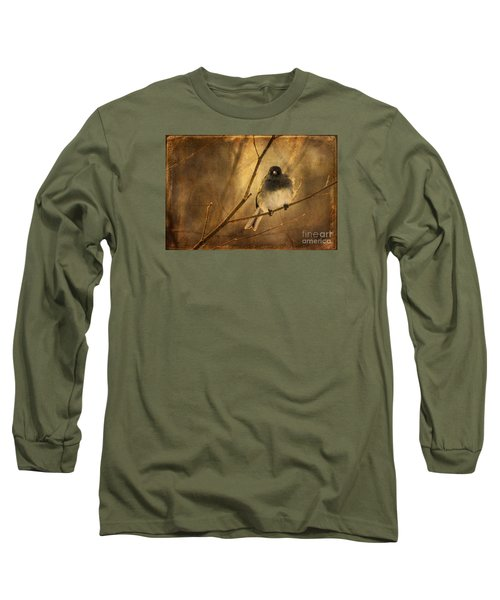 Backlit Birdie Being Buffeted  Long Sleeve T-Shirt by Lois Bryan