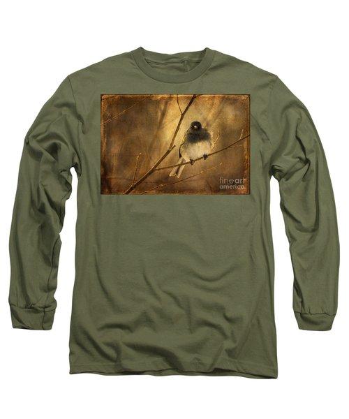 Backlit Birdie Being Buffeted  Long Sleeve T-Shirt