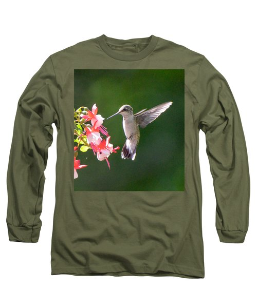 Backlit Fuchsia And Hummer Long Sleeve T-Shirt