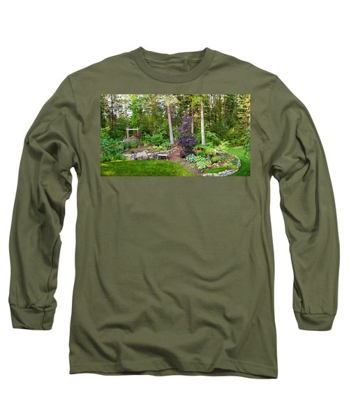 Backyard Garden In Loon Lake, Spokane Long Sleeve T-Shirt by Panoramic Images