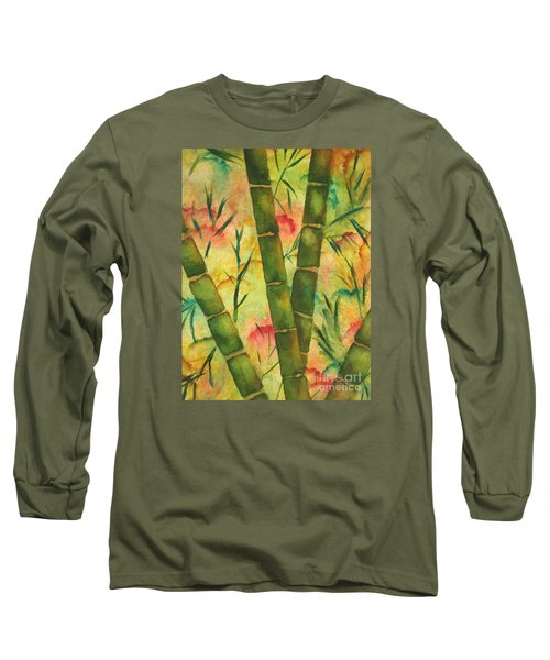 Long Sleeve T-Shirt featuring the painting Bamboo Garden by Chrisann Ellis