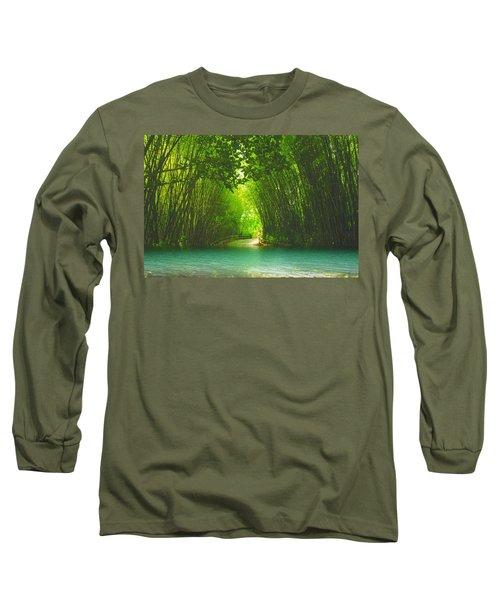 bamboo path to  Blue Lagoon  Long Sleeve T-Shirt