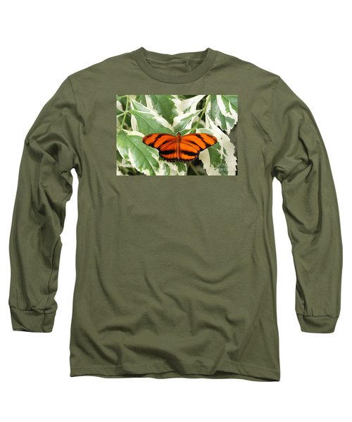 Banded Orange Longwing Butterfly Long Sleeve T-Shirt by Judy Whitton