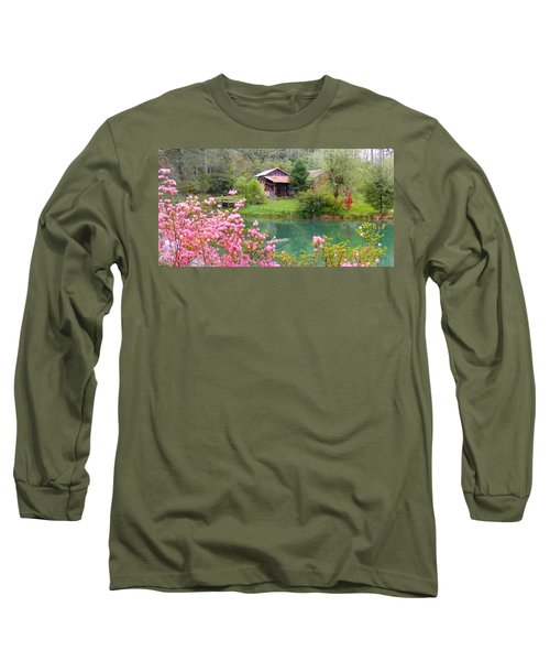 Barn And Flowers Near Pond Long Sleeve T-Shirt