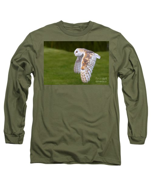 Barn Owl In Flight Long Sleeve T-Shirt by Nick  Biemans