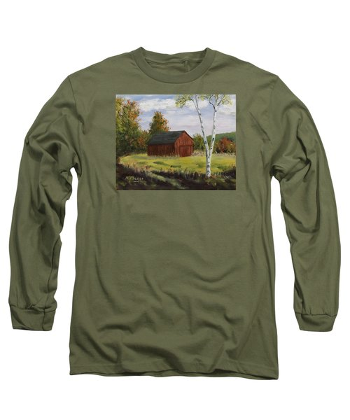 Barn With Lone Birch Long Sleeve T-Shirt