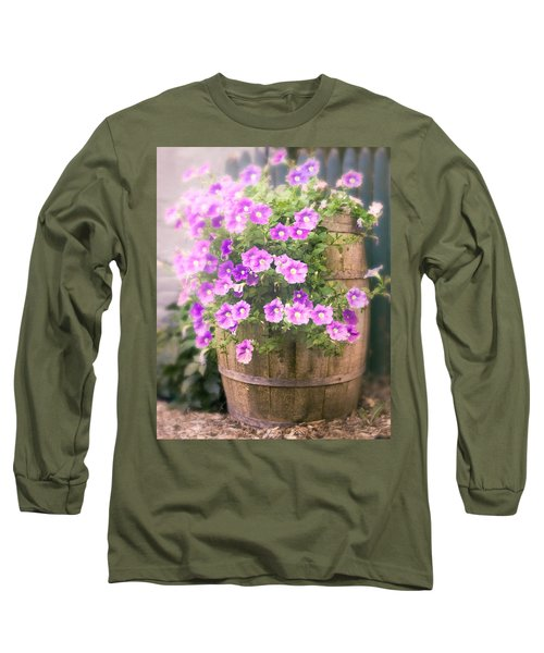 Long Sleeve T-Shirt featuring the photograph Barrel Of Flowers - Floral Arrangements by Gary Heller