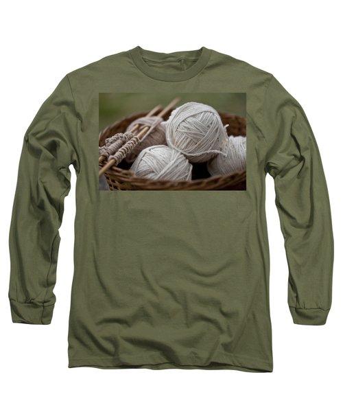 Basket Of Yarn Long Sleeve T-Shirt by Wilma  Birdwell
