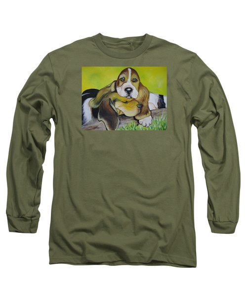 Long Sleeve T-Shirt featuring the painting Bassett Hound Pups by Leslie Manley