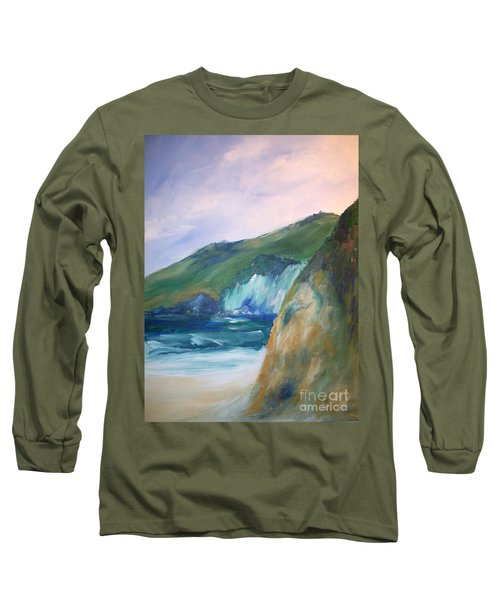 Long Sleeve T-Shirt featuring the painting Beach California by Eric  Schiabor