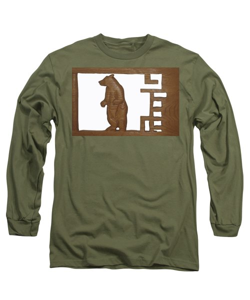 Long Sleeve T-Shirt featuring the sculpture Bear With Me My Friend by Robert Margetts