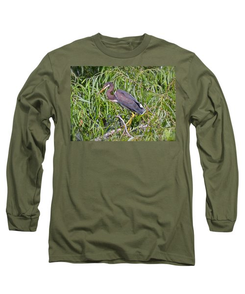 Long Sleeve T-Shirt featuring the photograph Beautiful Tricolored Heron by Carol  Bradley