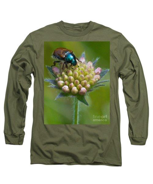 Beetle Sitting On Flower Long Sleeve T-Shirt