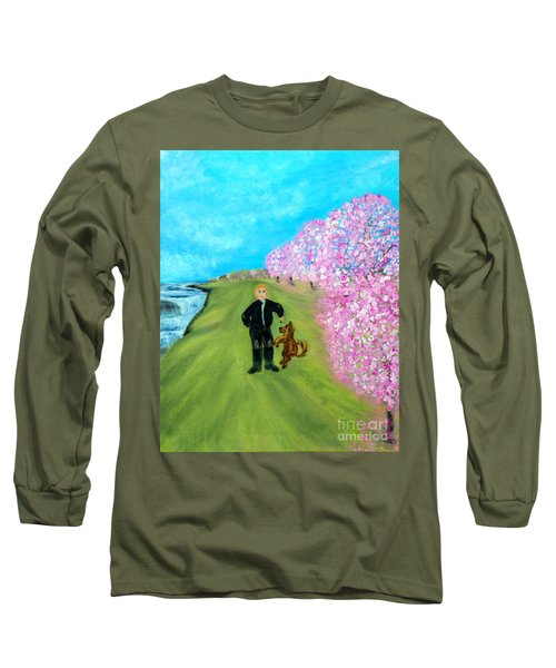 Long Sleeve T-Shirt featuring the painting Best Friends. Painting. Promotion by Oksana Semenchenko