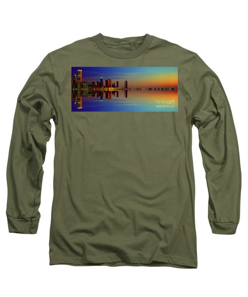 Long Sleeve T-Shirt featuring the photograph Between Night And Day Chicago Skyline Mirrored by Tom Jelen