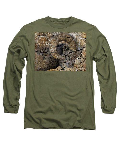 Bighorn Rock Art Long Sleeve T-Shirt by Steve McKinzie
