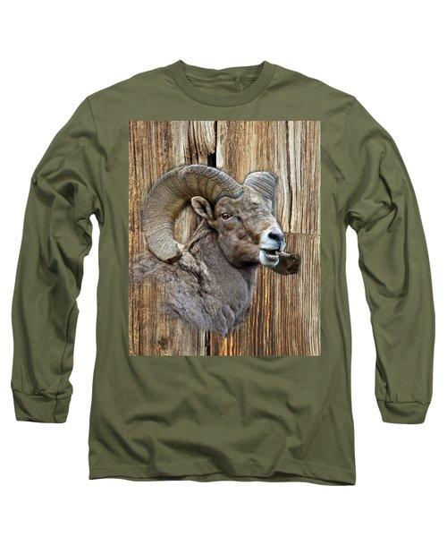 Bighorn Sheep Barnwood Long Sleeve T-Shirt by Steve McKinzie