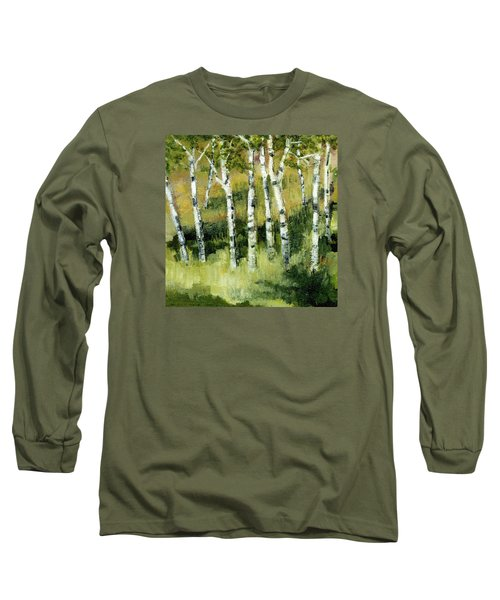 Long Sleeve T-Shirt featuring the painting Birches On A Hill by Michelle Calkins