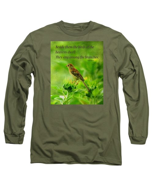Bird In A Sunflower Field Scripture Long Sleeve T-Shirt